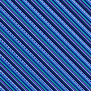 BN8 - Diagonal Variegated Stripes - Blues - Teal - Purple - Lavender - Narrow