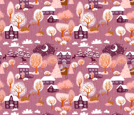 Purple Christmas fabric by floramoon on Spoonflower - custom fabric
