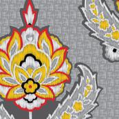 Ikat Traditional Gray Yellow_misschiffDesigns