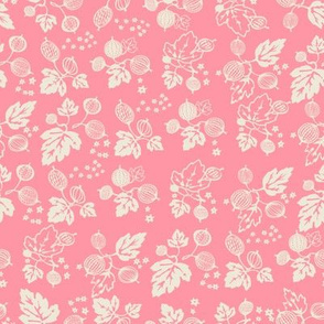 White on Pink Gooseberry All Over Design -Medium
