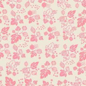 Pink on White Gooseberry All Over-Medium