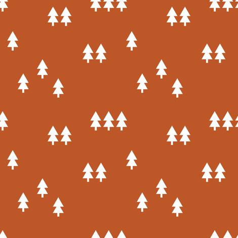 trees || burnt orange fabric by littlearrowdesign on Spoonflower - custom fabric