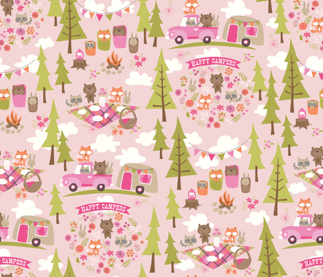 Happy Campers Go Glamping Pink Fabric By Bzbdesigner On Spoonflower
