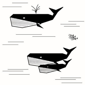 Whales - monochrome geometric black and white, kids water ocean fish || by sunny afternoon
