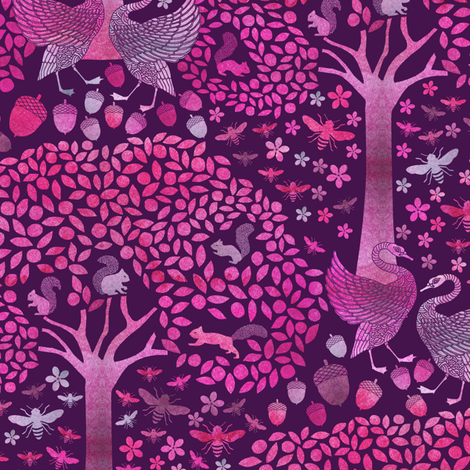 Apple Tree Swans and Squirrels fabric by rubydoor on Spoonflower - custom fabric