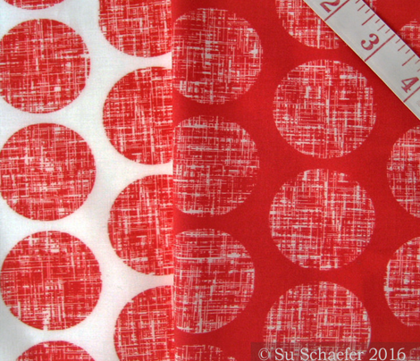 UK red + white linen weave polka dots on white by Su_G