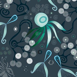 Subsea pattern, blue