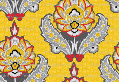 Large Scale Yellow Ethnic Tribal Ikat || Gray grey black white red Embroidery Texture traditional floral  damask