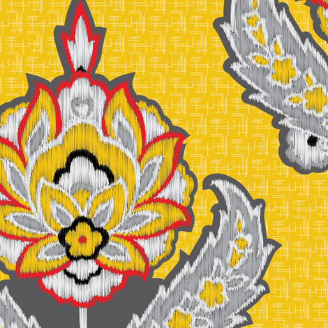 Large Scale Yellow Ethnic Tribal Ikat || Gray grey black white red Embroidery Texture traditional floral  damask  fabric by misschiffdesigns on Spoonflower - custom fabric