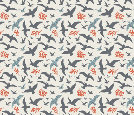Seagulls and Seaweed fabric by khubbs on Spoonflower - custom fabric