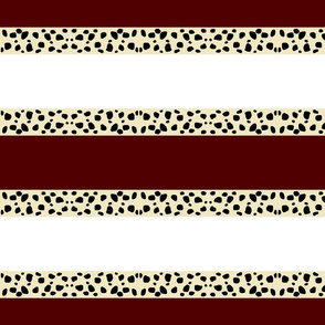 Cheetah Stripes Horizontal  -  Maroon Snow