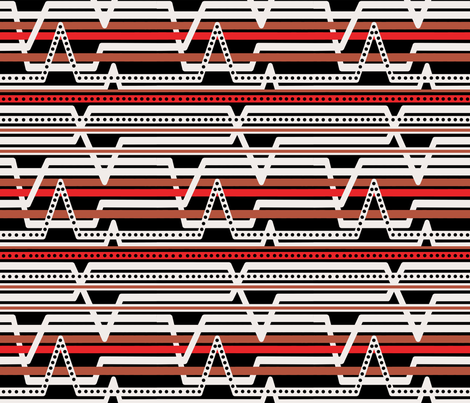 Black ECG stripes fabric by thestylesafari on Spoonflower - custom fabric