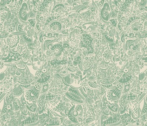 Extremely detailed zentangle inspired pattern, green fabric by camcreative on Spoonflower - custom fabric
