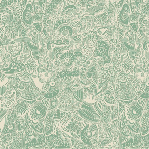 Extremely detailed zentangle inspired pattern, green