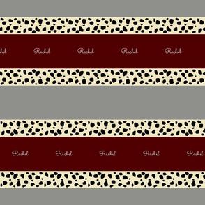 Cheetah Stripes Horizontal- Personalized  Maroon Glacier