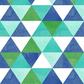 watercolor triangles pattern blue large