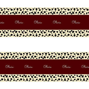 Cheetah Stripes Horizontal  PERSONALIZED -  Maroon Snow