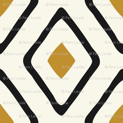 Diamond in Diamond - Dk Caramel, Black, Ivory