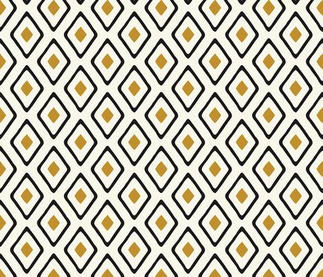 Diamond in Diamond - Dk Caramel, Black, Ivory fabric by fernlesliestudio on Spoonflower - custom fabric