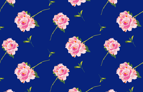 Royal blue large scale peony fabric by cashmerette on Spoonflower - custom fabric