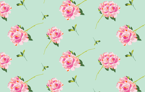 Mint large scale Peony fabric by cashmerette on Spoonflower - custom fabric