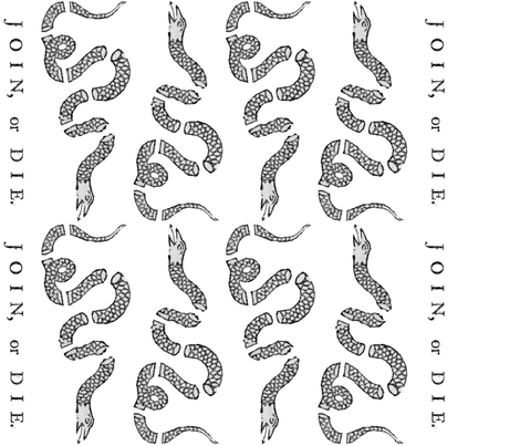 Join Or Die Border Print ~ Black and White ~ Reverse fabric by peacoquettedesigns on Spoonflower - custom fabric
