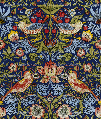 William Morris ~ Strawberry Thief ~ Bright Blue