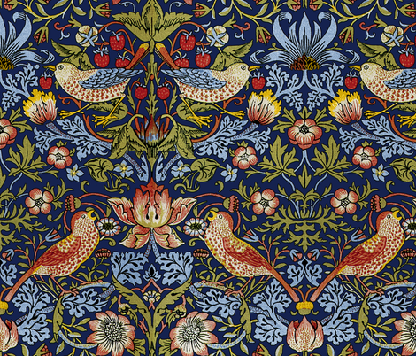 William Morris ~ Strawberry Thief ~ Bright Blue fabric by peacoquettedesigns on Spoonflower - custom fabric