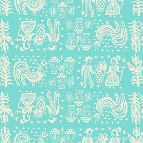 White on Turquoise BP All Over Design-Large