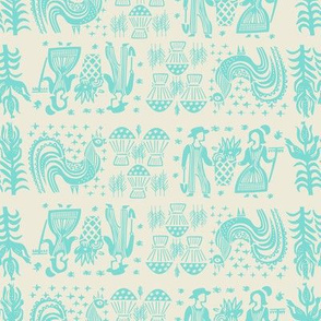 Turquoise on White Butterprint All Over Design-Large