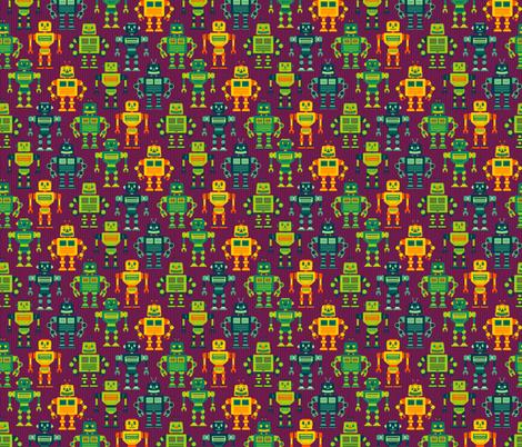 Robot Cohort - Purple fabric by samalah on Spoonflower - custom fabric