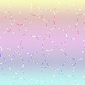 Polygon Ripples - Rainbow on White