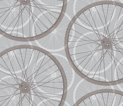 large Modern Bike wheel || Bicycle Sport Exercise Triathlon gray grey _Miss Chiff Designs fabric by misschiffdesigns on Spoonflower - custom fabric