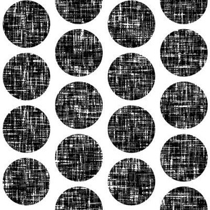 UK black + white tweedy linen weave polka dots on white by Su_G