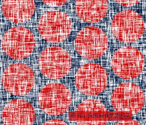 Red tweedy linen weave polka dots on navy + white by Su_G