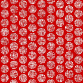 UK red + white linen weave polka dots on red by Su_G