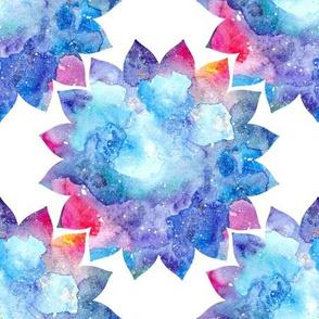 Watercolor blue cosmic flower pattern