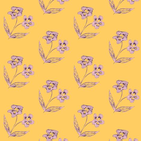 Pansy Garden Pretties on Sunshine Yellow fabric by rhondadesigns on Spoonflower - custom fabric