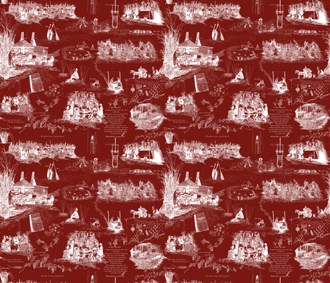 A Hoppin' We Will Go   White Toile on Red fabric by a_bushel_of_hops on Spoonflower - custom fabric