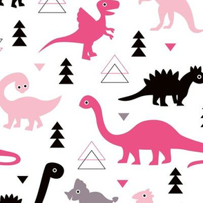 Adorable dino girls fabric with black and pink dinosaur geometric triangles and funky animal illustration theme for kids
