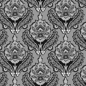 Tribal Modern Ikat Floral Damask || Gray Grey Black White Home decor _Miss Chiff Designs