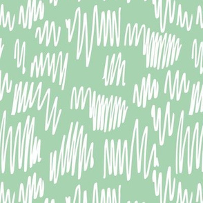 Scribblings and doodles fun abstract ink lines Scandinavian style mint white