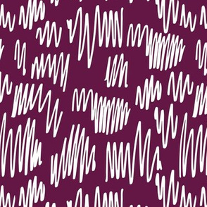 Scribblings and doodles fun abstract ink lines Scandinavian style purple white