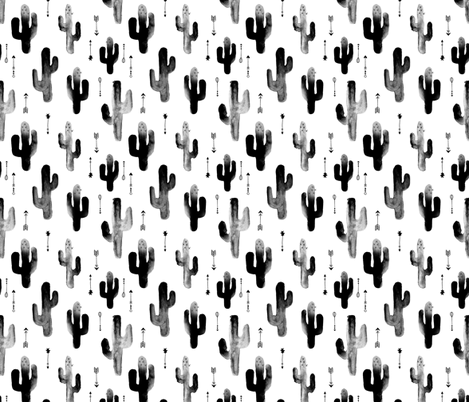 Black and white watercolors ink cactus garden gender neutral geometric arrows cowboy theme fabric by littlesmilemakers on Spoonflower - custom fabric