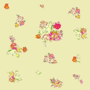 Small Vintage Floral in Neons + Pastels  // Tan