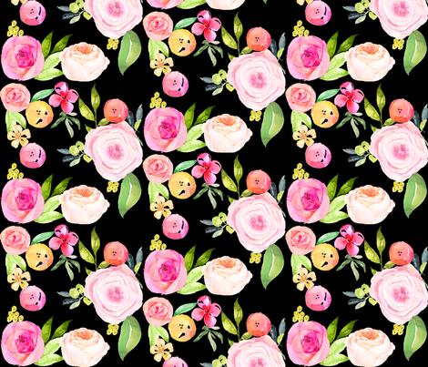 Watercolor Peonies in Pinks + Yellows // Black fabric by theartwerks on Spoonflower - custom fabric