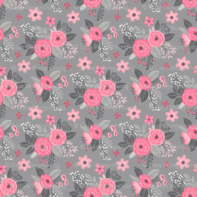 Vintage Antique Floral Flowers Pink on Grey Smaller Tiny