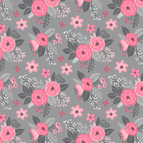 Vintage Antique Floral Flowers Pink on Grey Smaller Tiny fabric by caja_design on Spoonflower - custom fabric