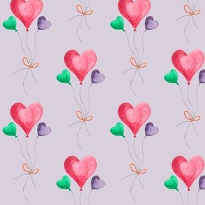 heart balloons on lilac