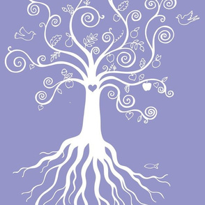 Tree of Life - white on blue